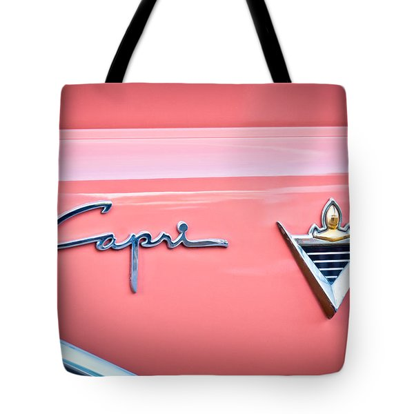 1955 Lincoln Capri Emblem 2 Tote Bag by Jill Reger