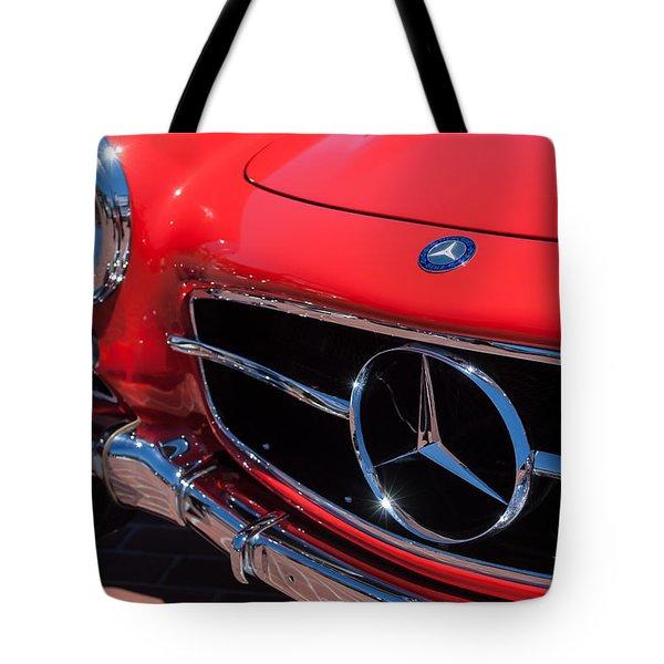 1955 Mercedes-Benz 300SL GullWing Grille Emblems Tote Bag by Jill Reger