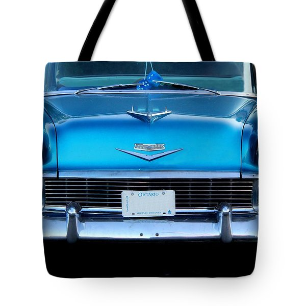 1956 Cheverolet In Blue Tote Bag by Davandra Cribbie