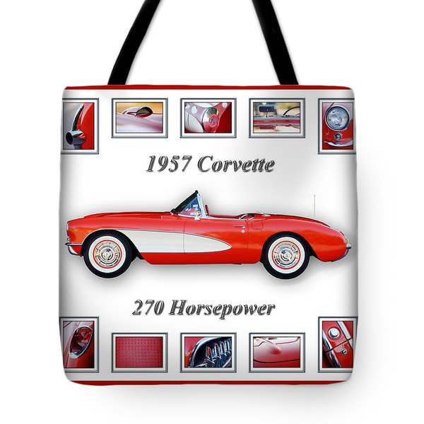 1957 Chevrolet Corvette Art Tote Bag by Jill Reger