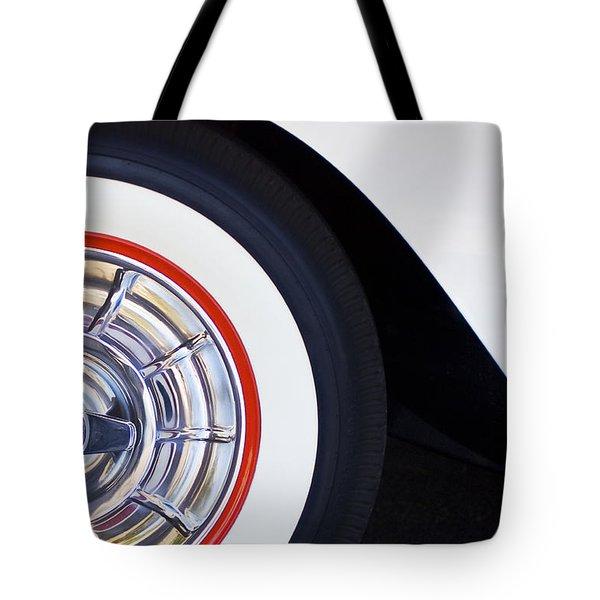 1957 Chevrolet Corvette Wheel Tote Bag by Jill Reger