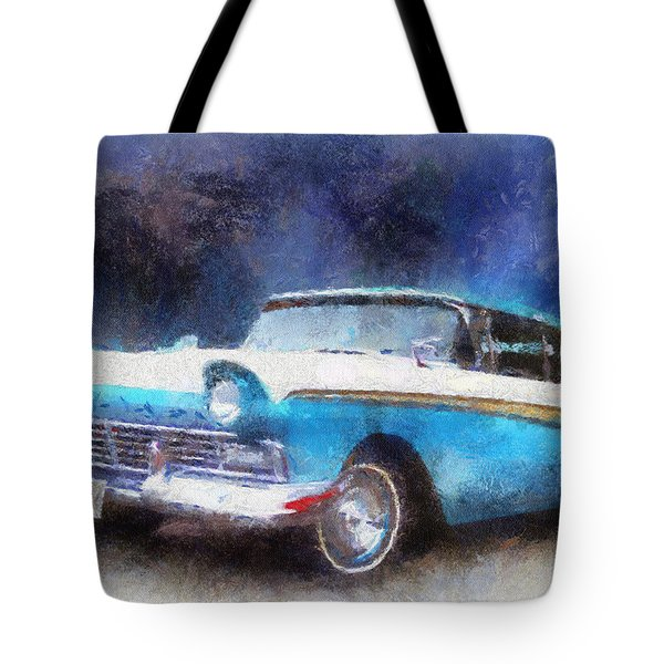 1957 Ford Classic Car Photo Art 02 Tote Bag by Thomas Woolworth