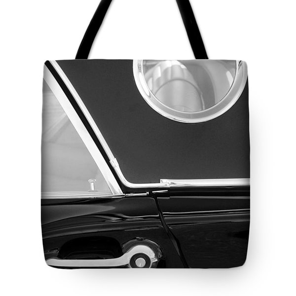 1957 Ford Thunderbird Window Black And White Tote Bag by Jill Reger