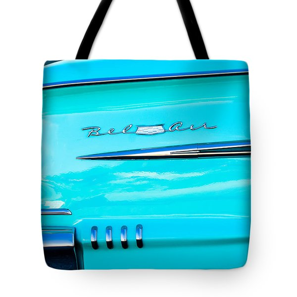 1958 Chevrolet Belair Tail Emblem Tote Bag by Jill Reger