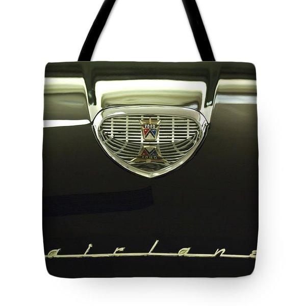 1958 Ford Fairlane 500 Victoria Hood Ornament Tote Bag by Jill Reger