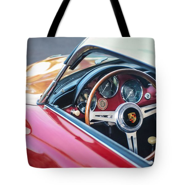 1958 Porsche 356 1600 Super Speedster Steering Wheel Tote Bag by Jill Reger