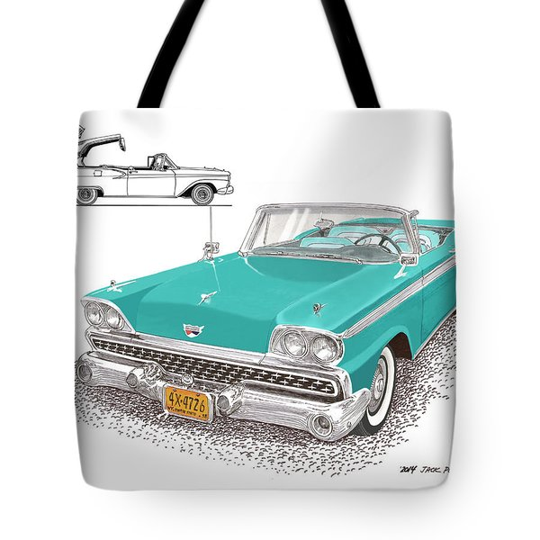 1959 Ford 500 Fairlane Retractable Hard Top Tote Bag by Jack Pumphrey