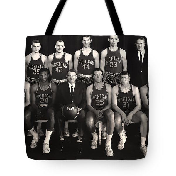1959 University Of Michigan Basketball Team Photo Tote Bag by Mountain Dreams