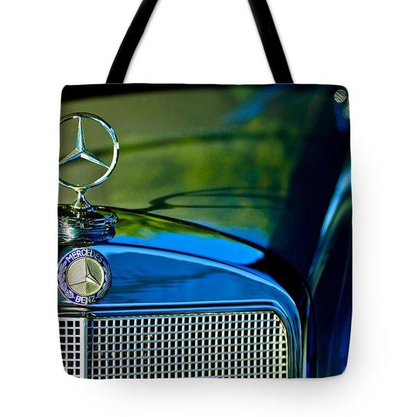 1960 Mercedes-benz 220 Se Convertible Hood Ornament Tote Bag by Jill Reger