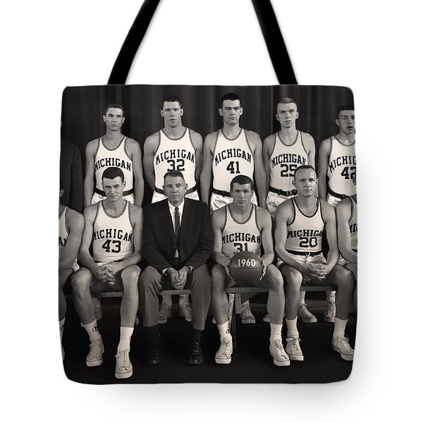 1960 University Of Michigan Basketball Team Photo Tote Bag by Mountain Dreams