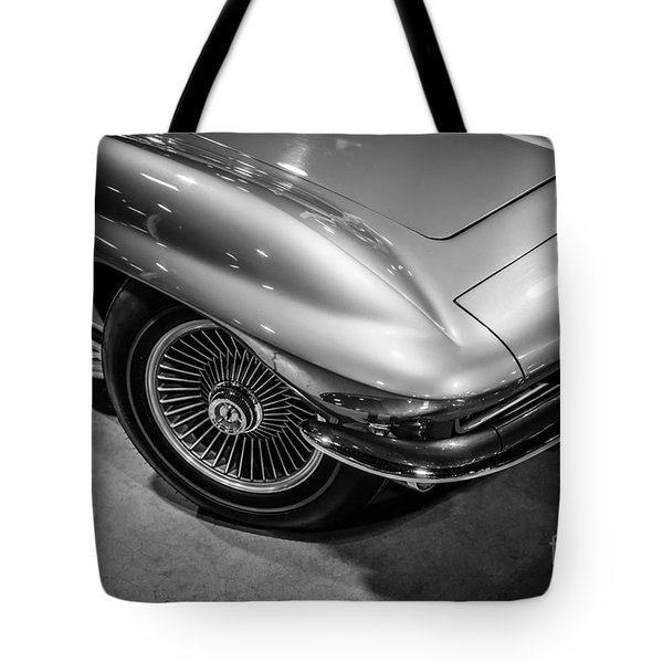 1960's Corvette C2 in Black and White Tote Bag by Paul Velgos