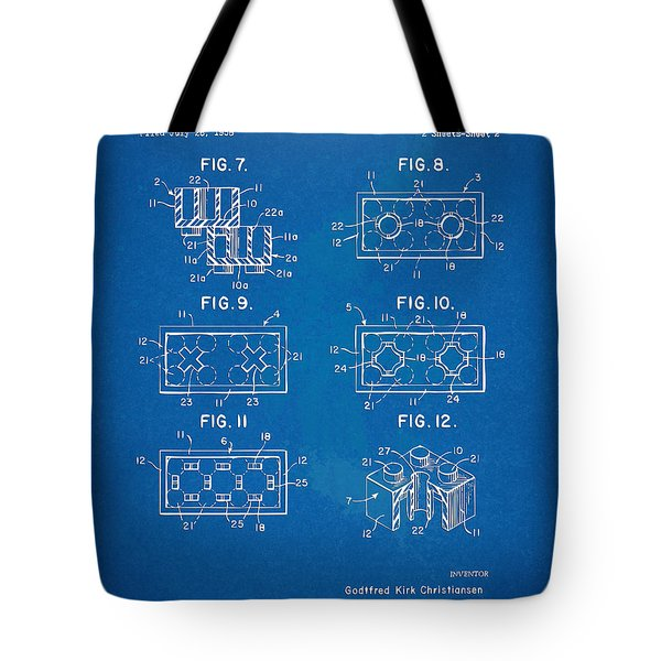 1961 Lego Brick Patent Artwork - Blueprint Tote Bag by Nikki Marie Smith
