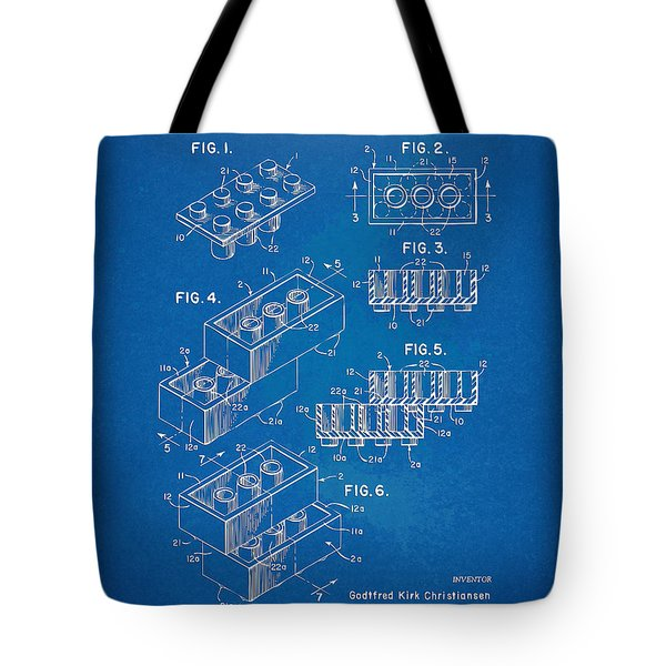 1961 Toy Building Brick Patent Artwork - Blueprint Tote Bag by Nikki Marie Smith