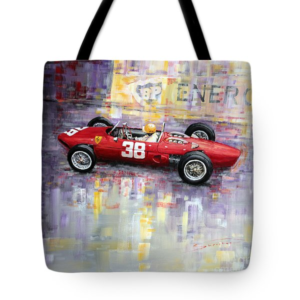 1962 Ricardo Rodriguez Ferrari 156 Tote Bag by Yuriy Shevchuk