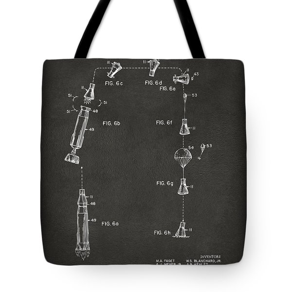 1963 Space Capsule Patent Gray Tote Bag by Nikki Marie Smith