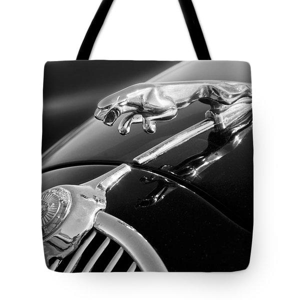 1964 Jaguar MK2 Saloon Hood Ornament and Emblem Tote Bag by Jill Reger