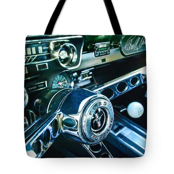 1965 Shelby Prototype Ford Mustang Steering Wheel Emblem 2 Tote Bag by Jill Reger