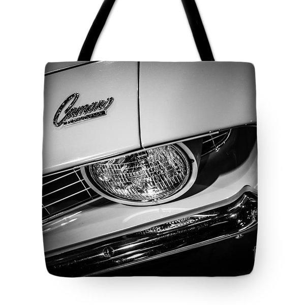 1969 Chevrolet Camaro In Black And White Tote Bag by Paul Velgos