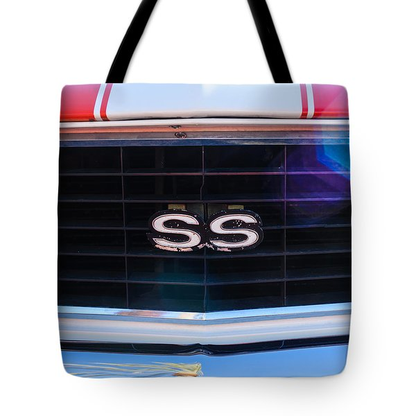 1969 Chevrolet Camaro Rs-ss Indy Pace Car Replica Grille Emblem Tote Bag by Jill Reger