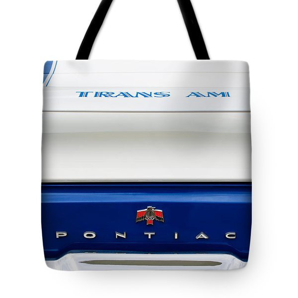 1969 Pontiac Trans Am Tail Fin Emblem Tote Bag by Jill Reger