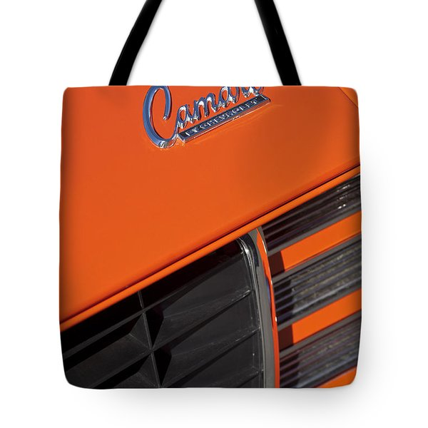 1969 Rs-ss Chevrolet Camaro Grille Emblem Tote Bag by Jill Reger