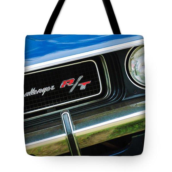 1970 Dodge Challenger RT Convertible Grille Emblem Tote Bag by Jill Reger