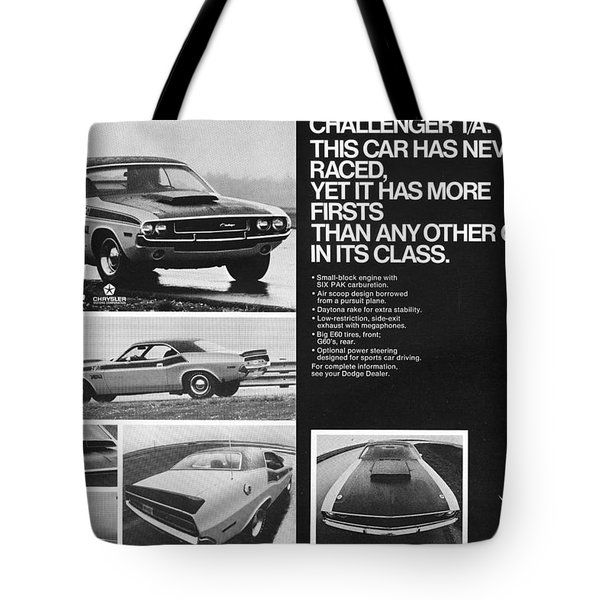 1970 Dodge Challenger T/a Tote Bag by Digital Repro Depot
