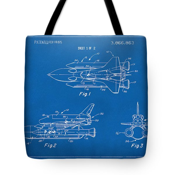 1975 Space Shuttle Patent - Blueprint Tote Bag by Nikki Marie Smith