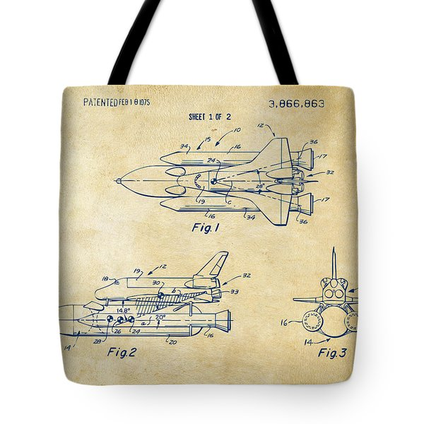 1975 Space Shuttle Patent - Vintage Tote Bag by Nikki Marie Smith