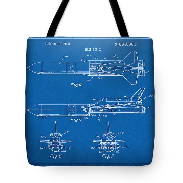1975 Space Vehicle Patent - Blueprint Tote Bag by Nikki Marie Smith