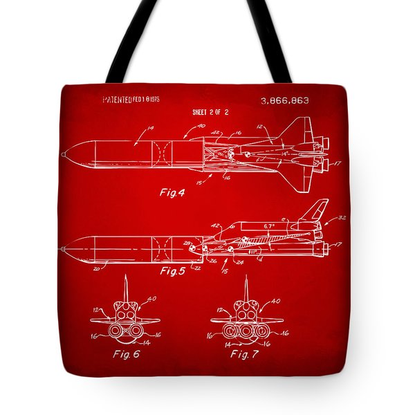 1975 Space Vehicle Patent - Red Tote Bag by Nikki Marie Smith
