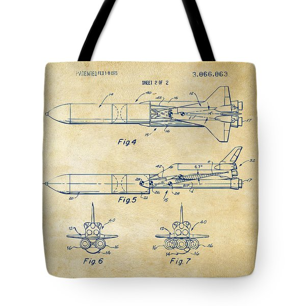 1975 Space Vehicle Patent - Vintage Tote Bag by Nikki Marie Smith