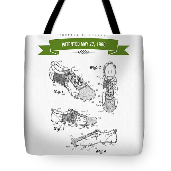 1980 Soccer Shoes Patent Drawing - Retro Green Tote Bag by Aged Pixel