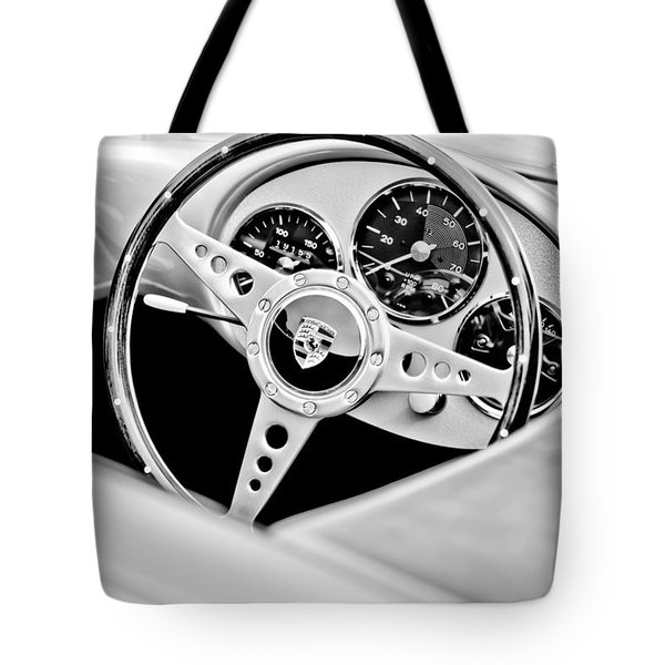 1955 Porsche Spyder Replica Steering Wheel Emblem Tote Bag by Jill Reger