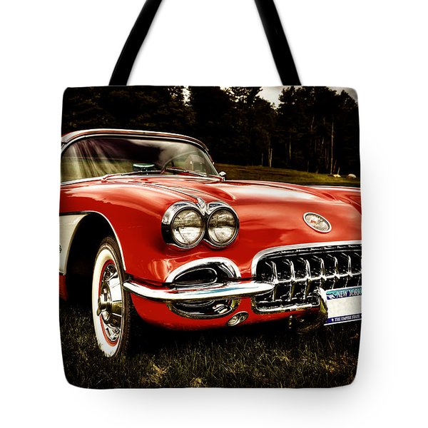 1960 Chevy Corvette Tote Bag by David Patterson