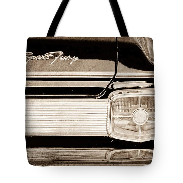 1963 Plymouth Sport Fury Taillight Emblem Tote Bag by Jill Reger