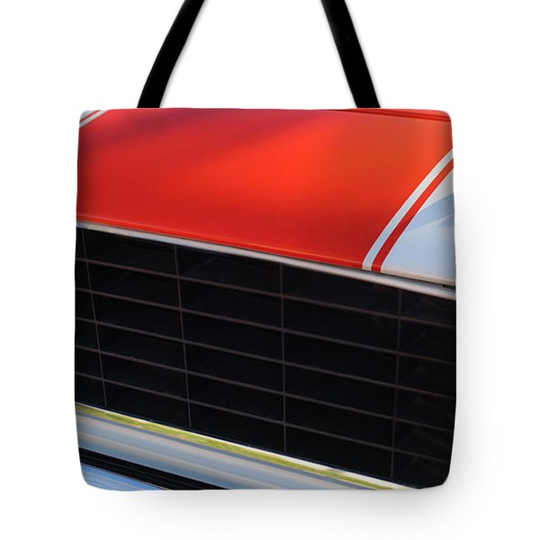 96 Inch Panoramic -1969 Chevrolet Camaro RS-SS Indy Pace Car Replica Grille - Hood Emblems Tote Bag by Jill Reger