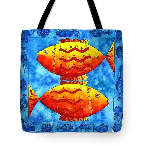 2 Fish Square Tote Bag by Julie Nicholls