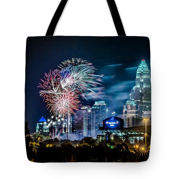 4th of july firework over charlotte skyline Tote Bag by Alexandr Grichenko