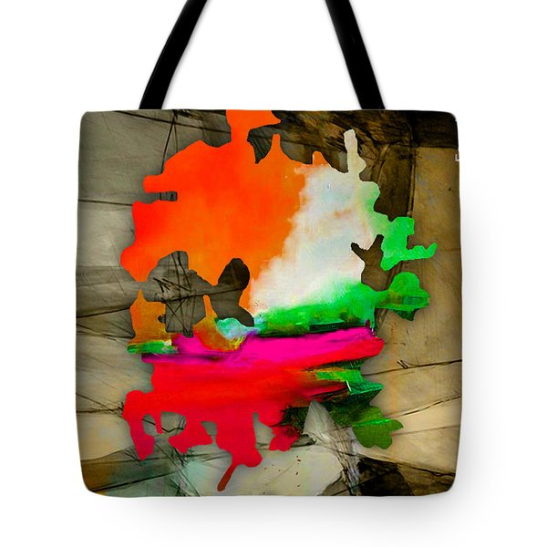 Austin Map And Skyline Watercolor Tote Bag by Marvin Blaine
