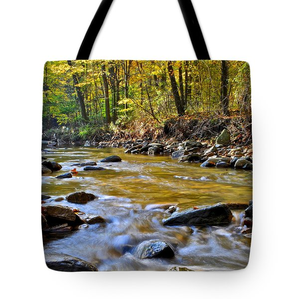 Autumn Stream Tote Bag by Frozen in Time Fine Art Photography