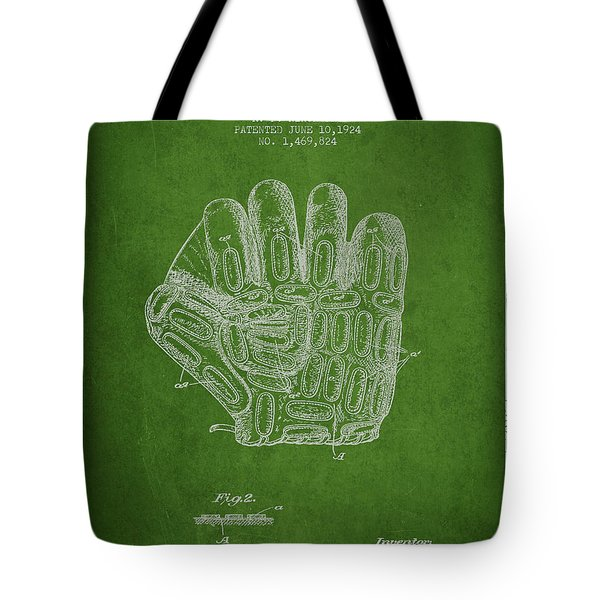 Baseball Glove Patent Drawing From 1924 Tote Bag by Aged Pixel