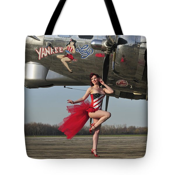 Beautiful 1940s Style Pin-up Girl Tote Bag by Christian Kieffer