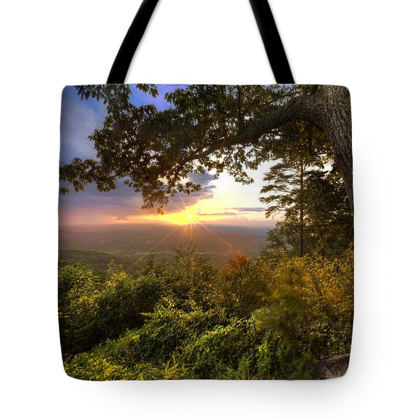 Blue Ridge Mountain Sunset Tote Bag by Debra and Dave Vanderlaan