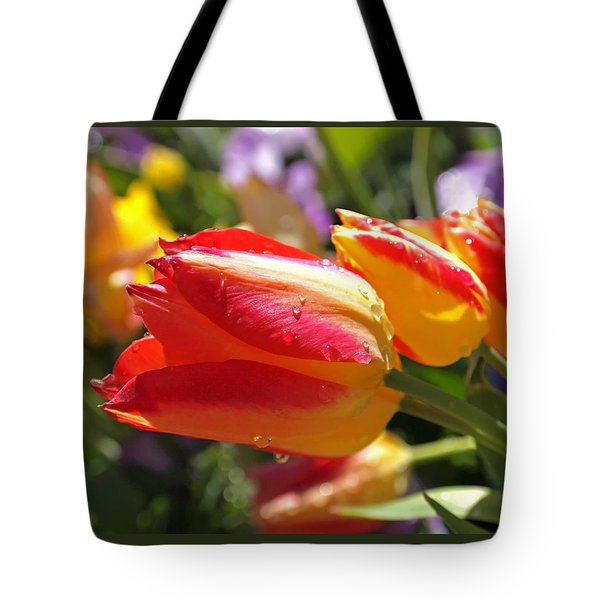 Bowing Tulips Tote Bag by Rona Black