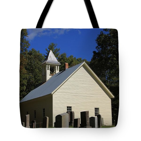 Cades Cove Primitive Baptist Church Tote Bag by Dan Sproul