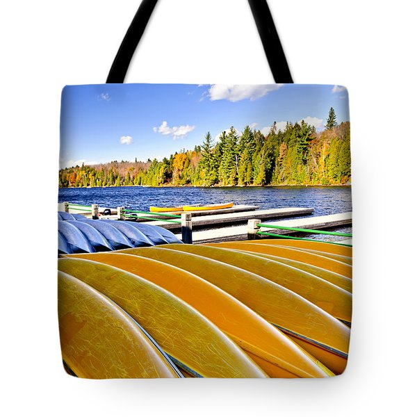 Canoes On Autumn Lake Tote Bag by Elena Elisseeva