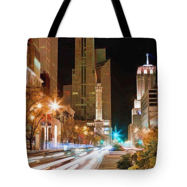 Chicago Michigan Avenue Light Streak Tote Bag by Christopher Arndt