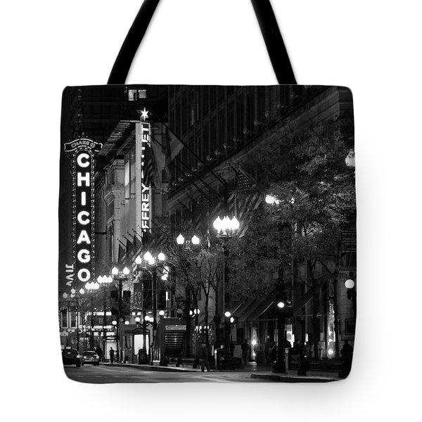 Chicago Theatre At Night Tote Bag by Christine Till