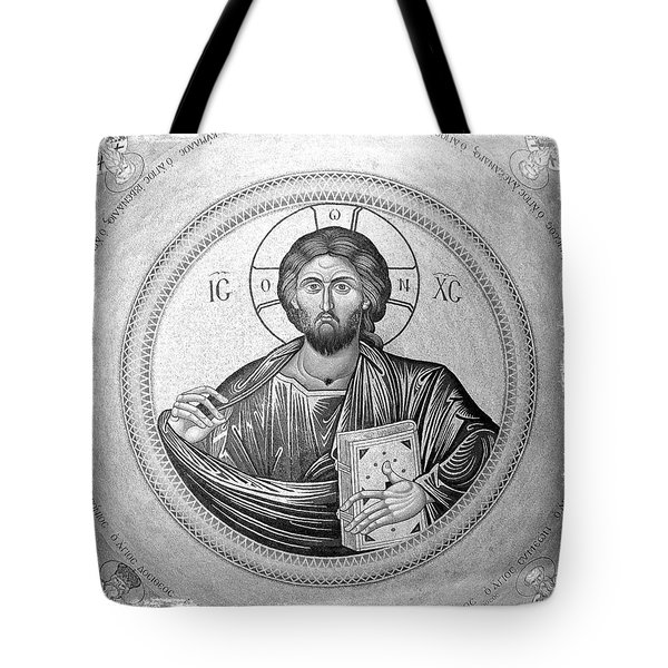 Christ Pantocrator In Black And White -- Church Of The Holy Sepulchre Tote Bag by Stephen Stookey